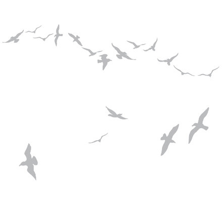 Domestic - Sticker mural Flock of Gulls, argenté