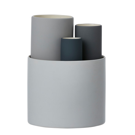 Ensemble de 4 vases Collect de ferm Living en gris