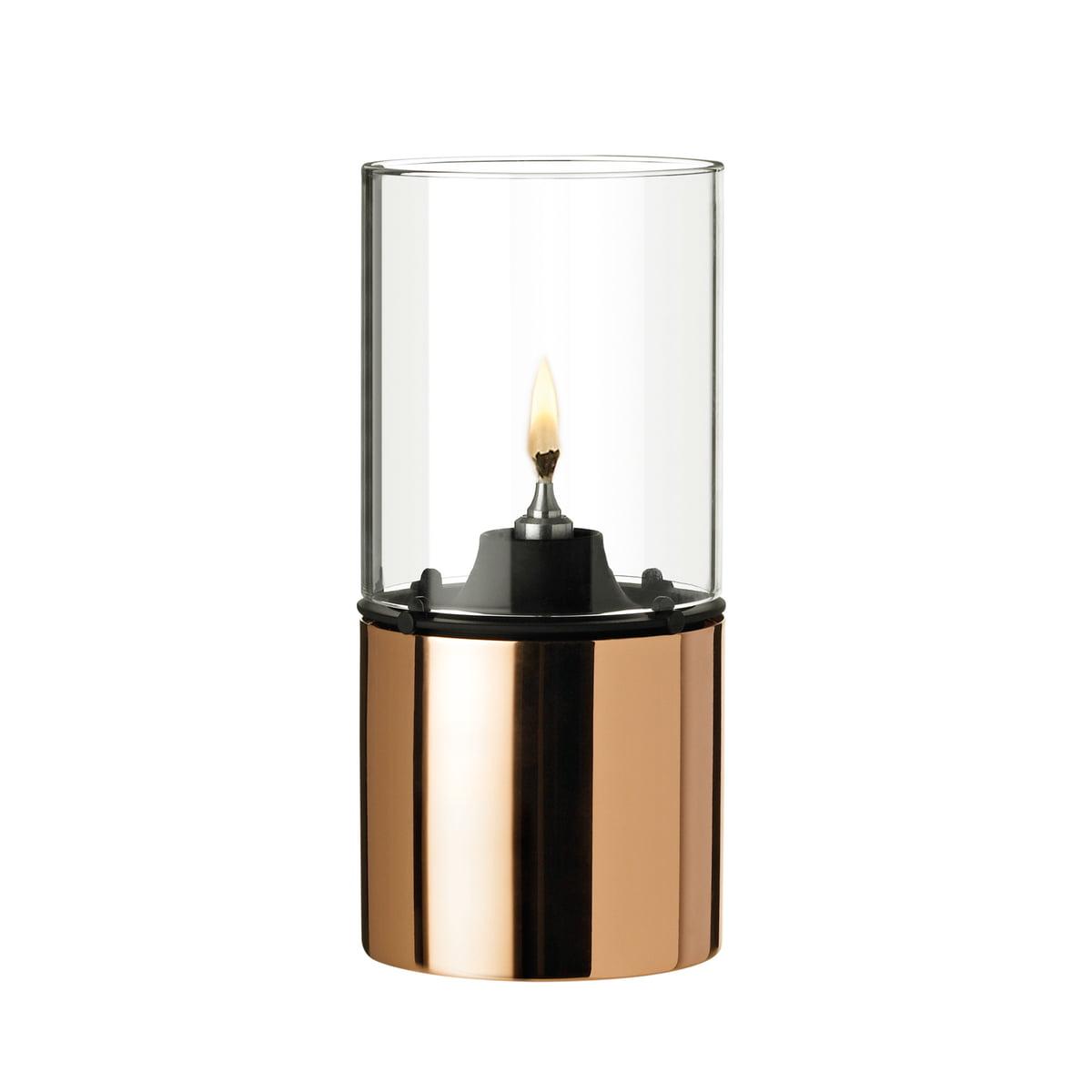 Stelton - Lampe à huile 1005-1 cuivre avec abat-jour en verre, satiné