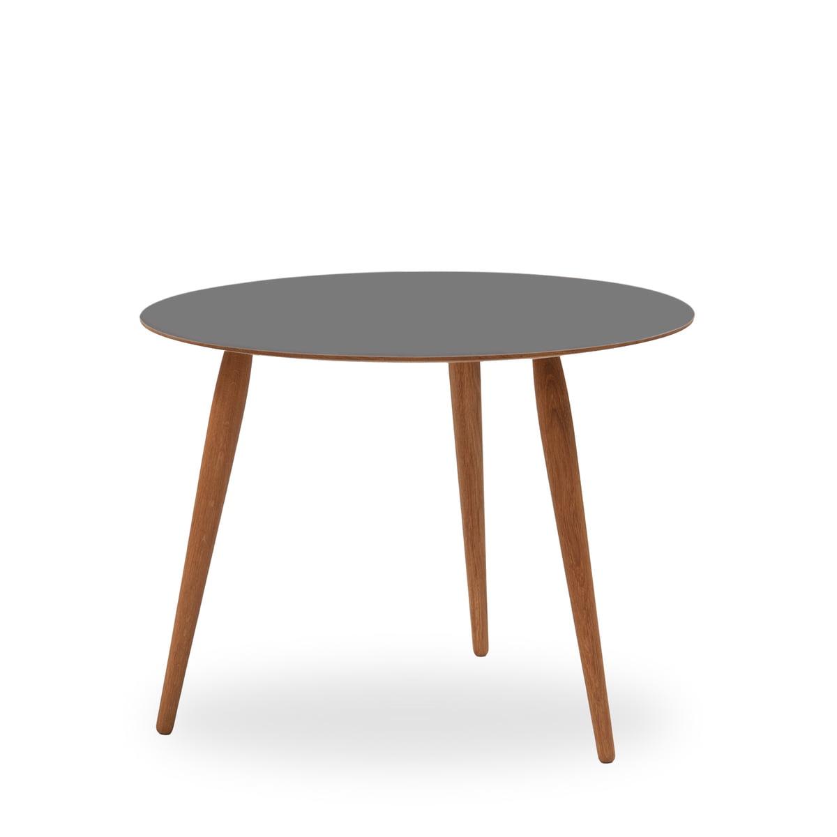 bruunmunch - Table d´appoint Playround, stratifié Ø 75 cm, Storm Grey/chêne huilé