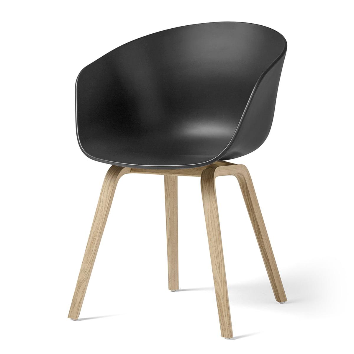 Hay - About A Chair AAC 22, structure quatre pieds en bois (chêne laqué mat) / soft black, patins en feutre