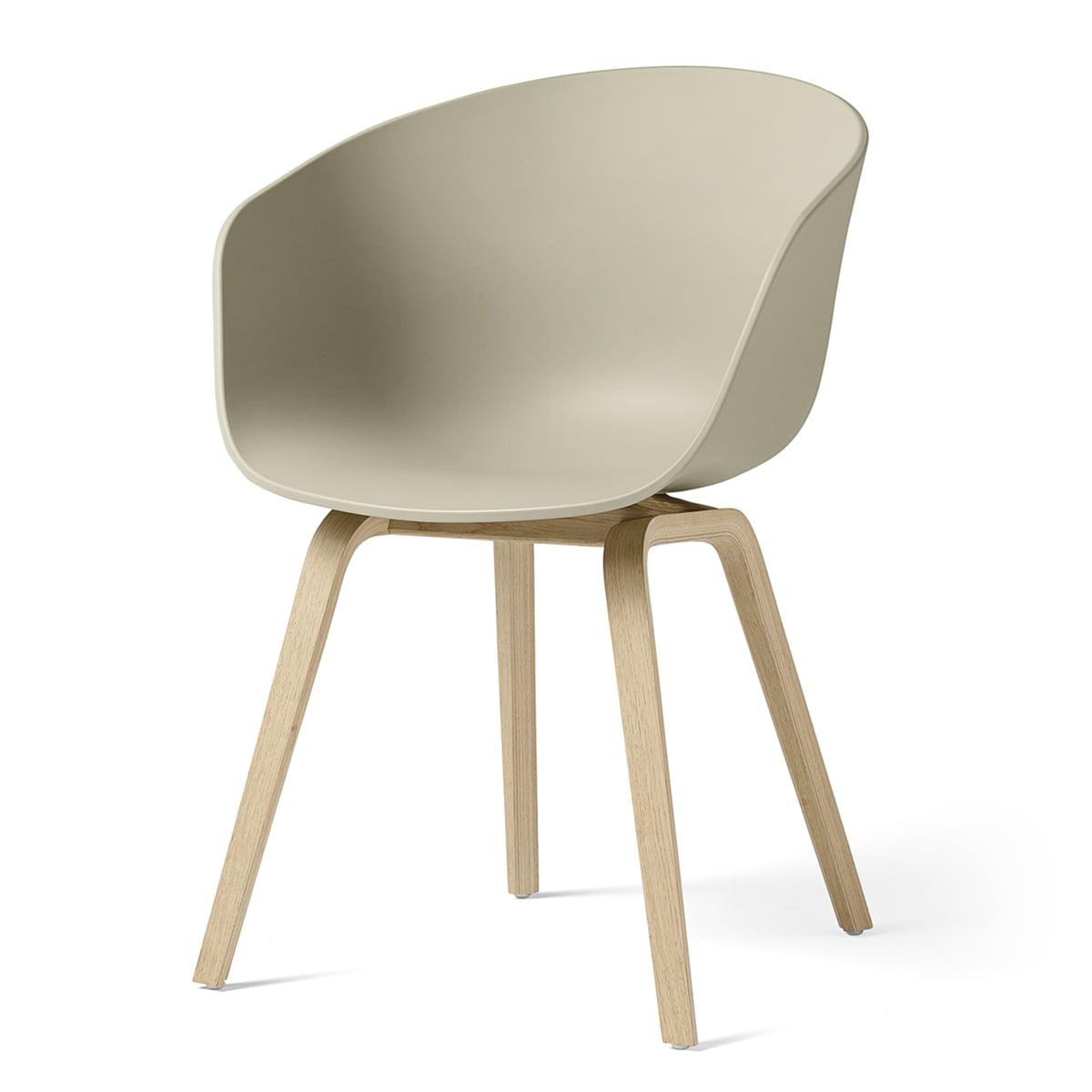 Hay - About A Chair AAC 22, structure quatre pieds en bois (chêne laqué mat) / pastel green, patins en feutre