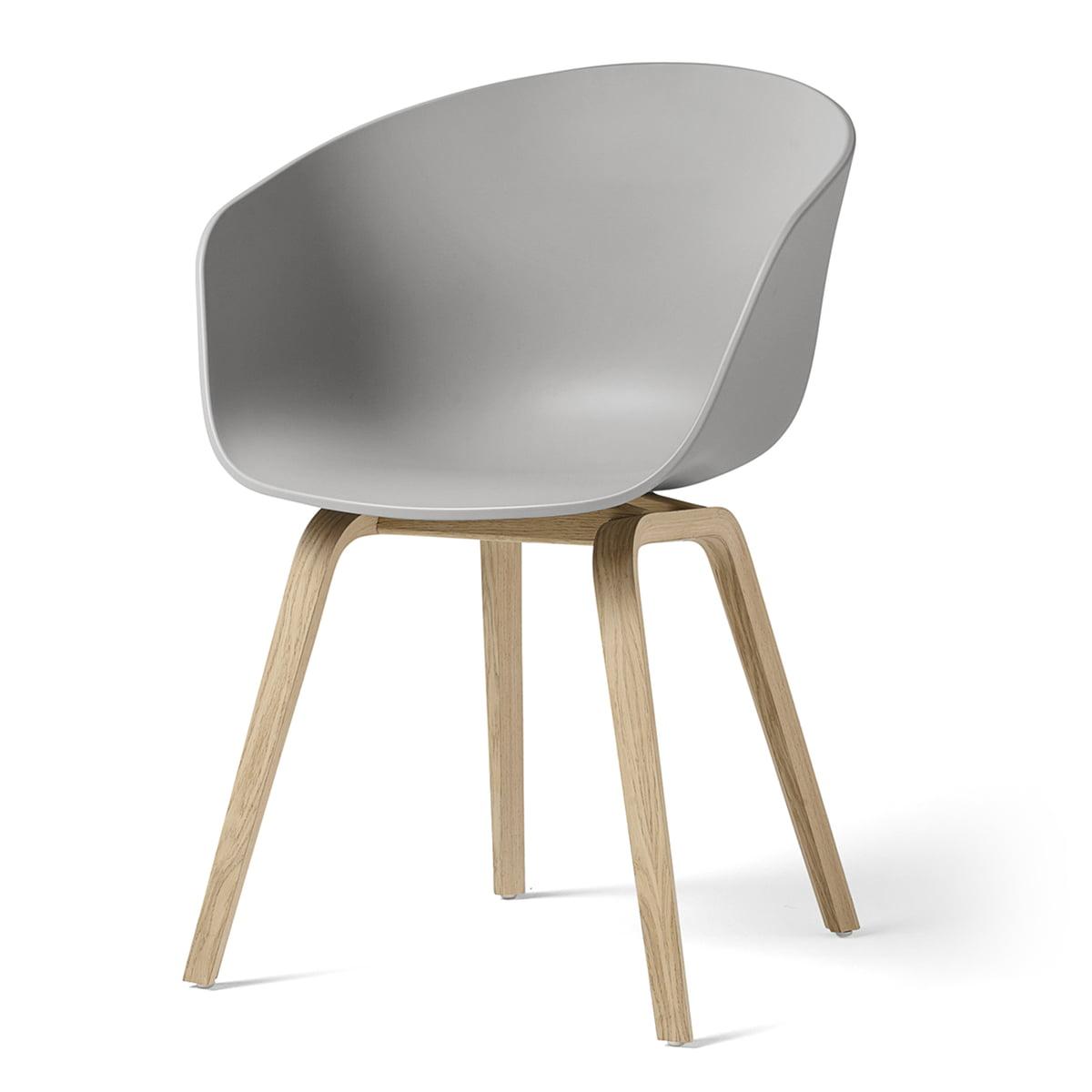 Hay - About A Chair AAC 22, structure quatre pieds en bois (chêne laqué mat) / concrete grey, patins en feutre