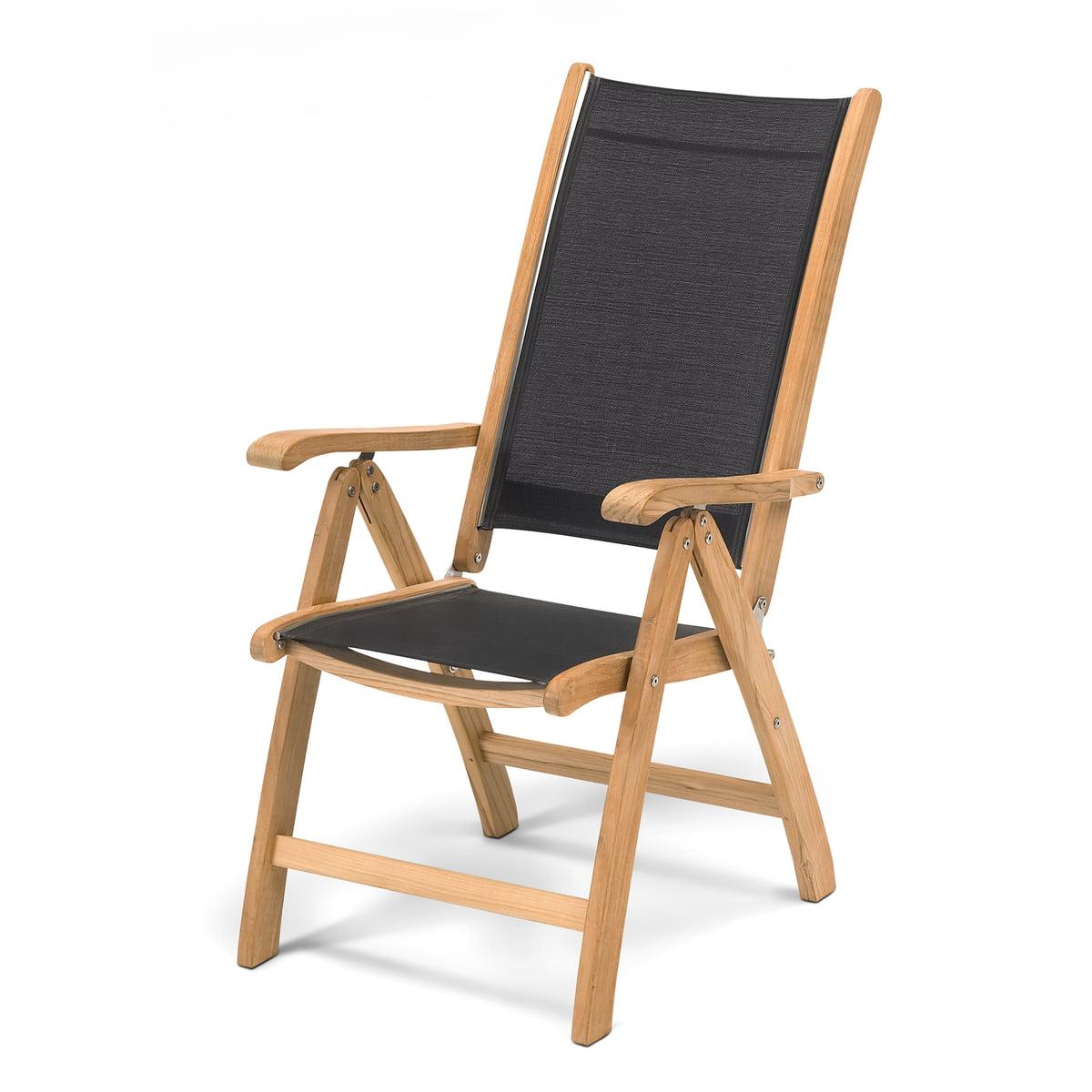 Skagerak - Chaise Columbus, revêtement tissu, noir / teck