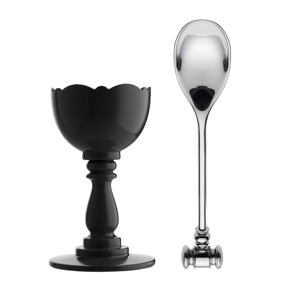 Alessi - Coquetier et cuillère Dressed, noir