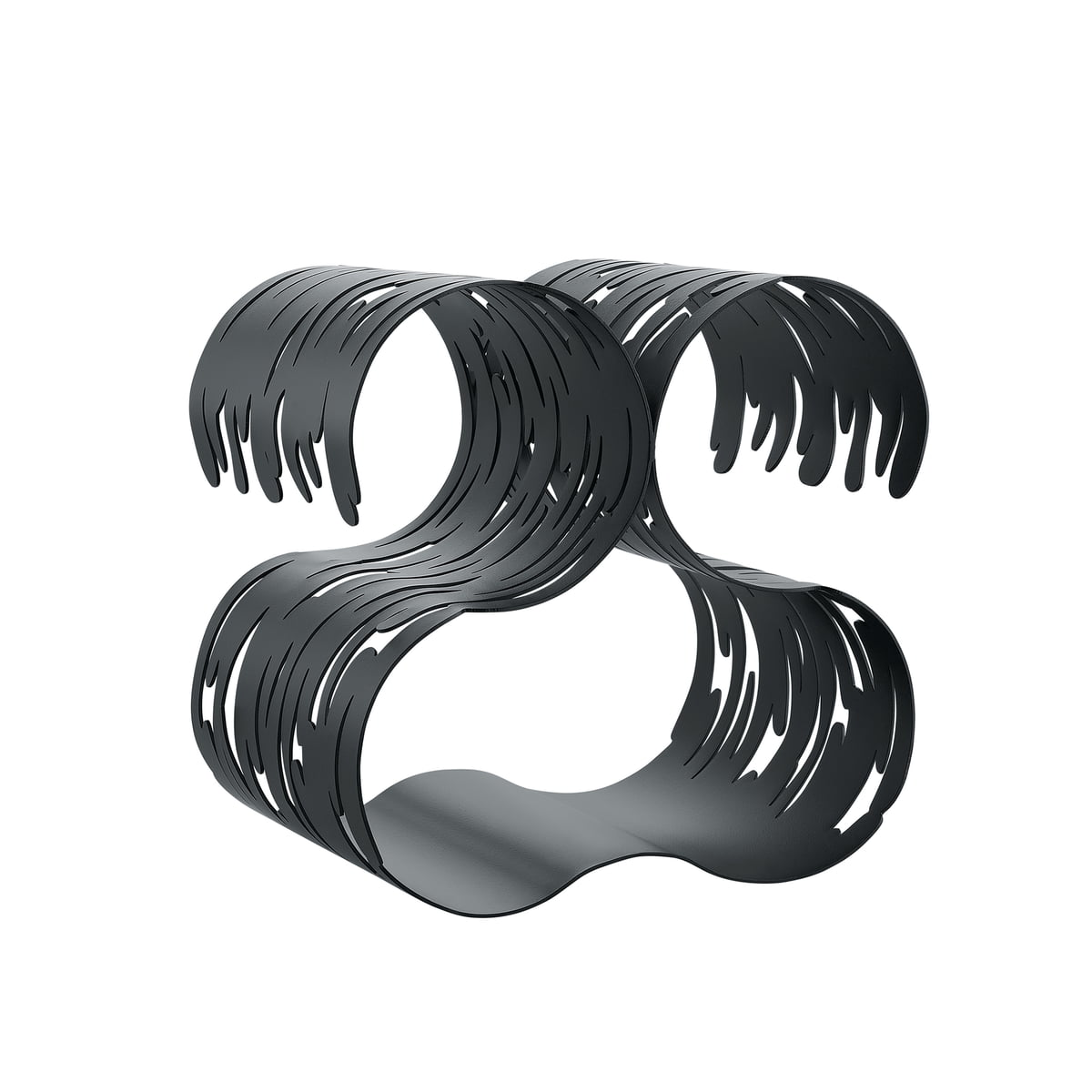 Alessi - Range-bouteilles Barkcellar, acier laqué noir