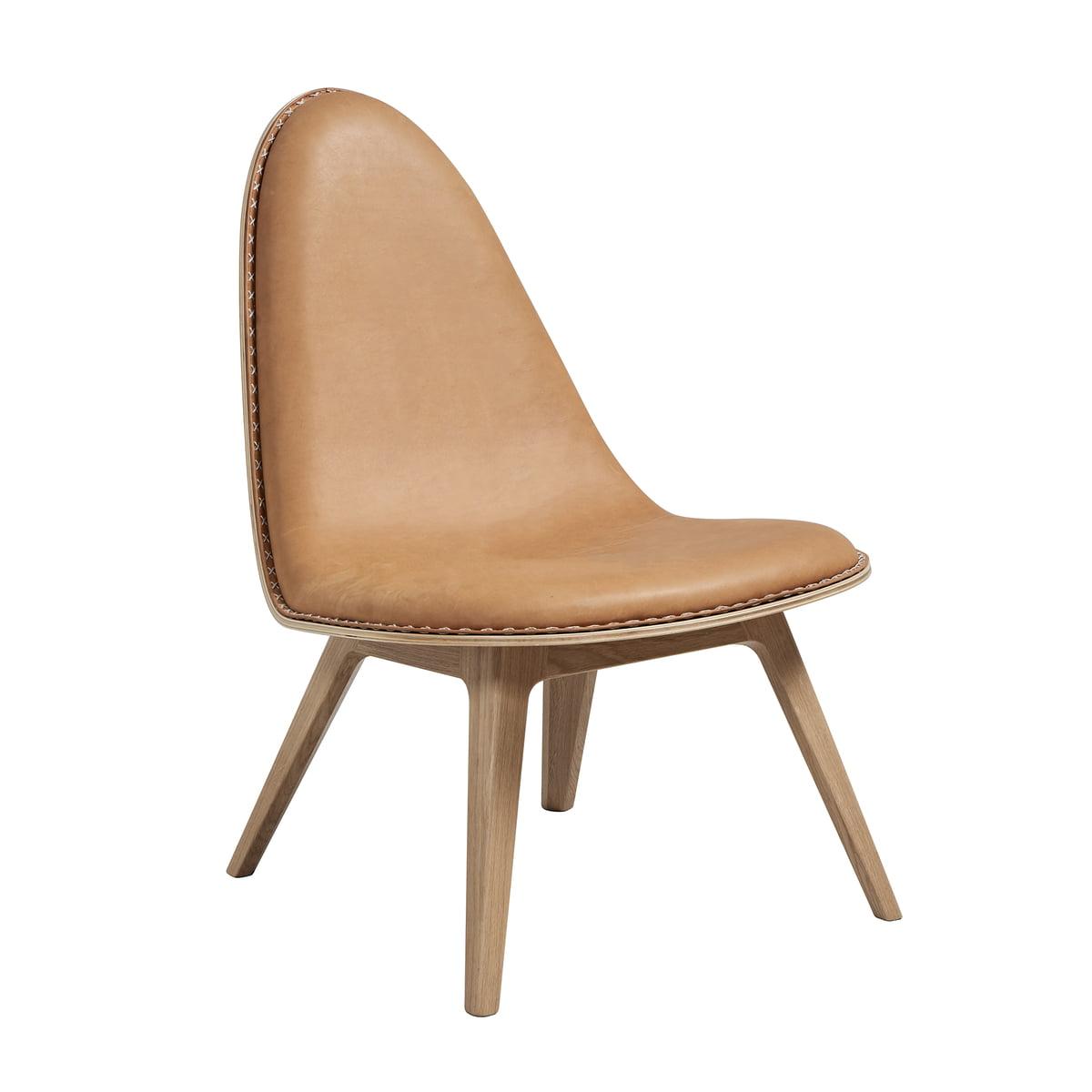 SACK it ApS Sack it - Chaise lounge Nordic, chêne teinté clair/cuir cognac, avec coutures
