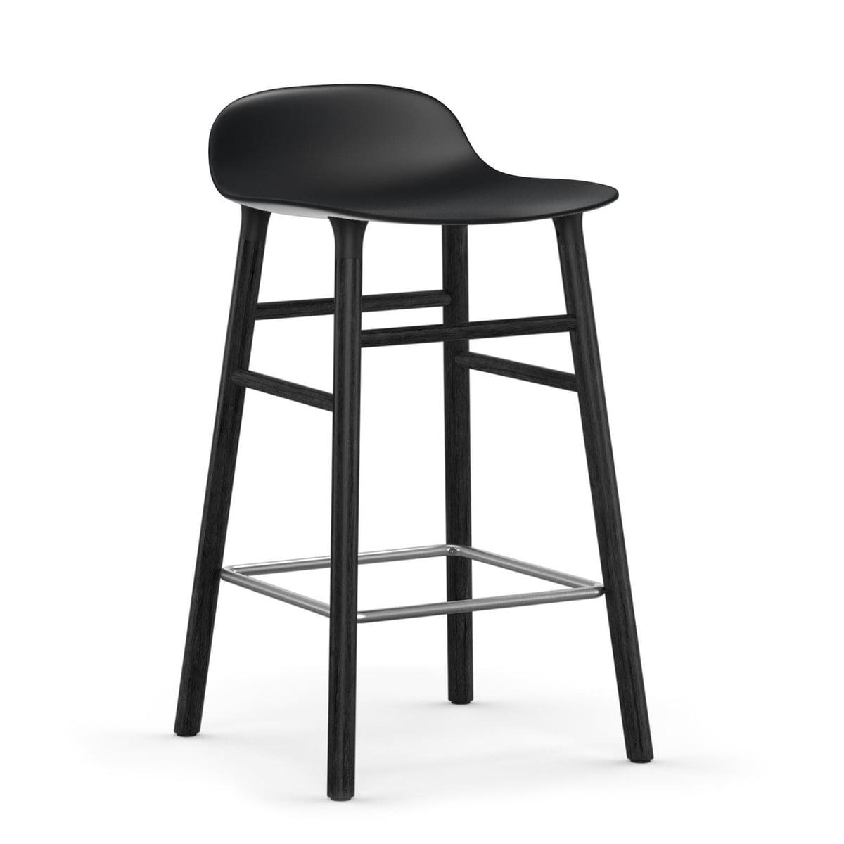 Normann Copenhagen - Form tabouret de bar 65 cm, piètement en chêne noir / noir