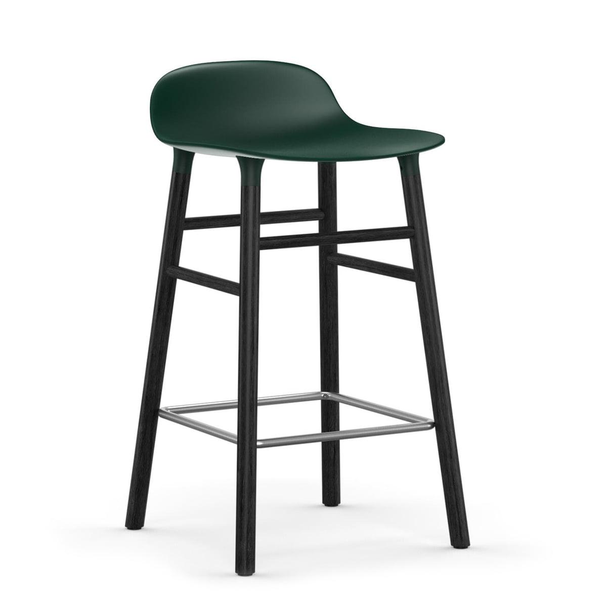Normann Copenhagen - Form tabouret de bar 65 cm, piètement en chêne noir / vert