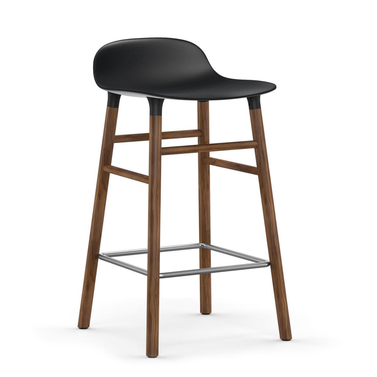 Normann Copenhagen - Form tabouret de bar 65 cm, piètement noyer/ noir
