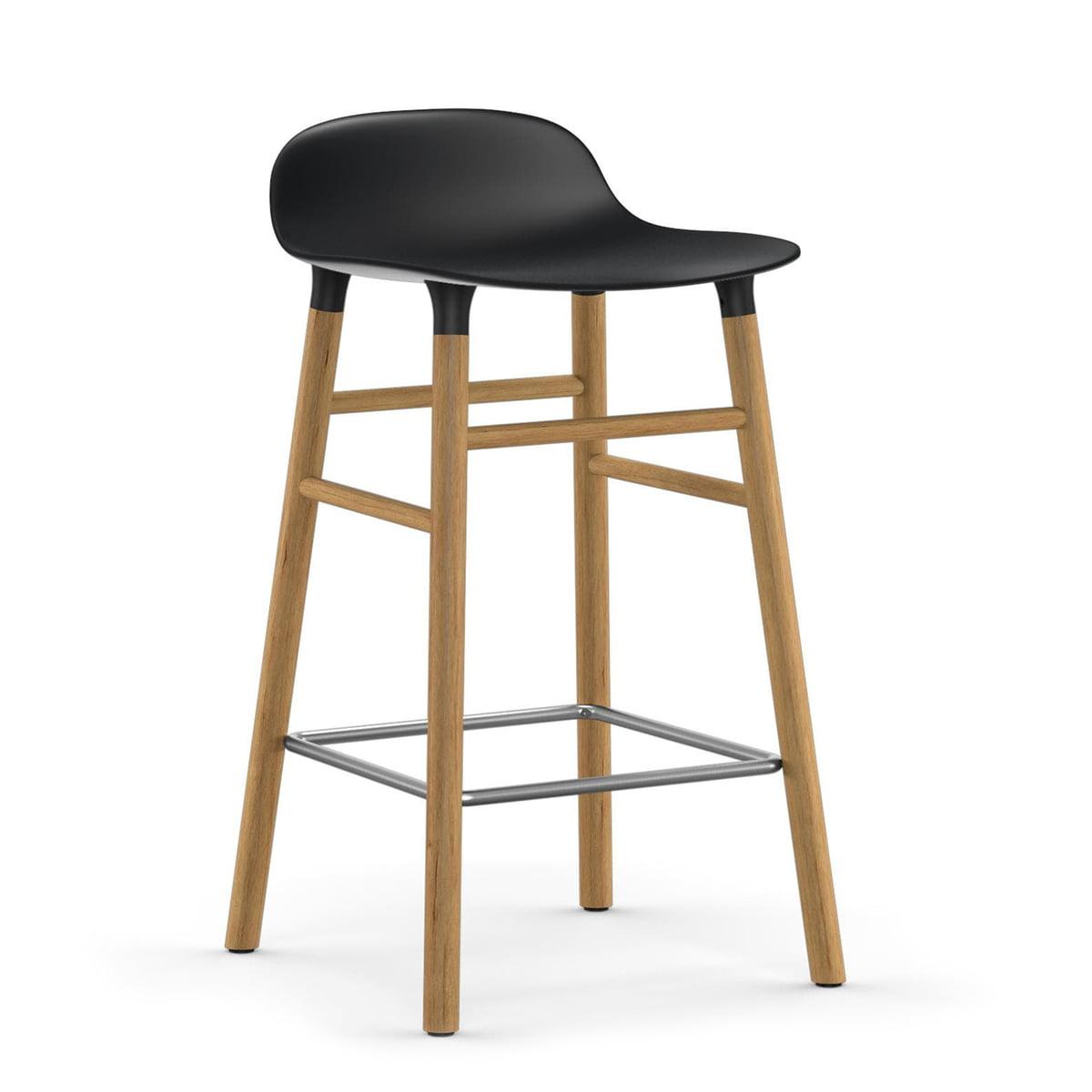 Normann Copenhagen - Form tabouret de bar 65 cm, piètement chêne / noir
