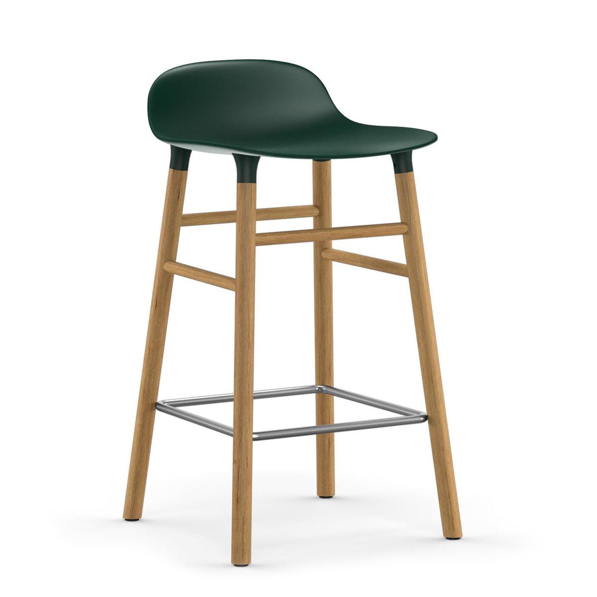 Normann Copenhagen - Form tabouret de bar 65 cm, piètement chêne / vert