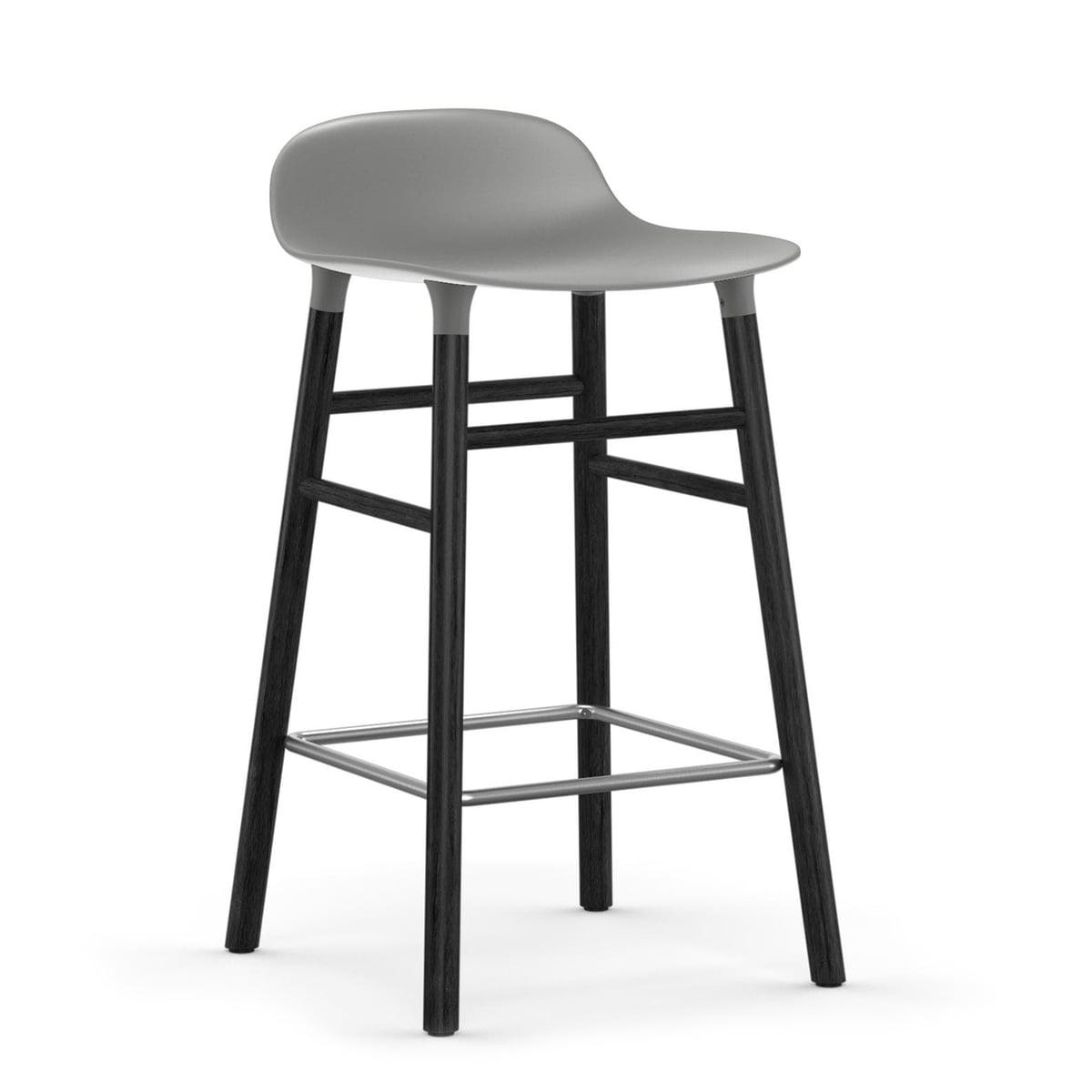 Normann Copenhagen - Form tabouret de bar 65 cm, piètement en chêne noir / gris