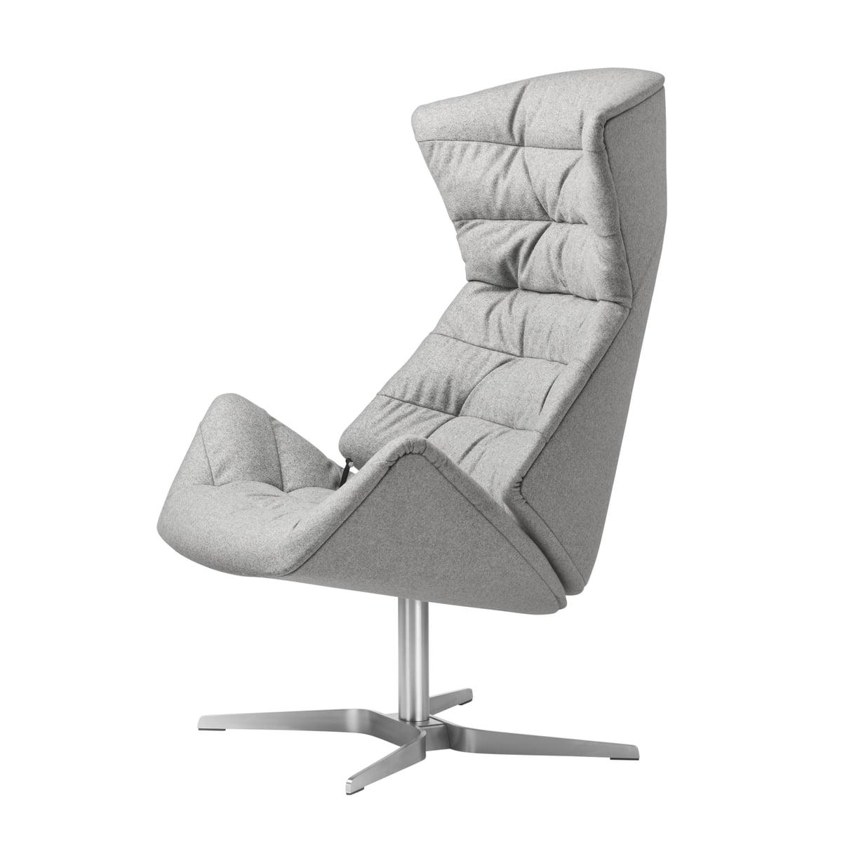 Thonet - Fauteuil Lounge 808, structure en acier inoxydable / gris (Bergen 905)