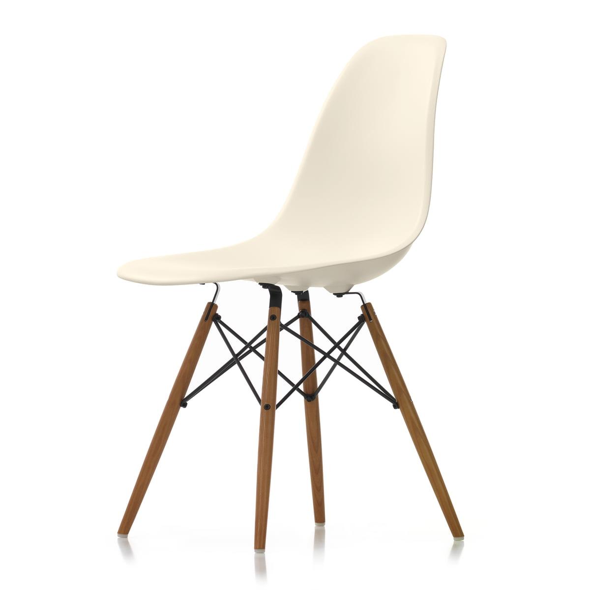 Vitra - Eames Plastic Side Chair DSW (H 43 cm), frêne miel / crème, patins feutres blanc